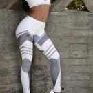Gray Stripes Print White Running Fitness Leggings Size M