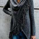 Plain Black Color  Fringe Cardigan Size M
