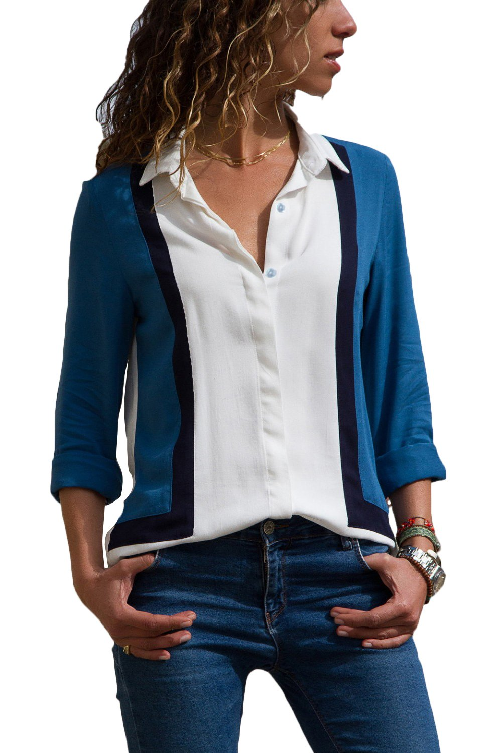 White long-sleeve shirt in blue Size S