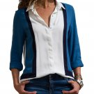 White long-sleeve shirt in blue Size XL