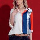 Long sleeved striped shirt in indigo orange Size M