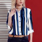 Striped long sleeve shirt in blue Size XL