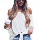 White Shoulder Knot Blouse Size S