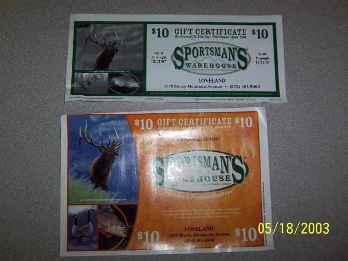 (2) Sportsmans Warehouse $10 off