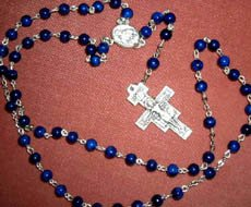 Hand Crafted Rosary: Blue Fossil Stone, San Damiano Crucifix