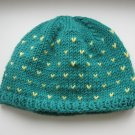 handmade intense green merino beanie with yellow dots