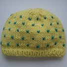 handmade soft yellow kids beanie with green dot pattern from merino wool