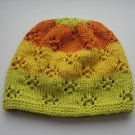 green yellow orange organic vegan cotton girls beanie, GOTS, biodegradable kids hat