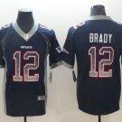 Men's England Patriots 12# Tom Brady Football Jersey navy