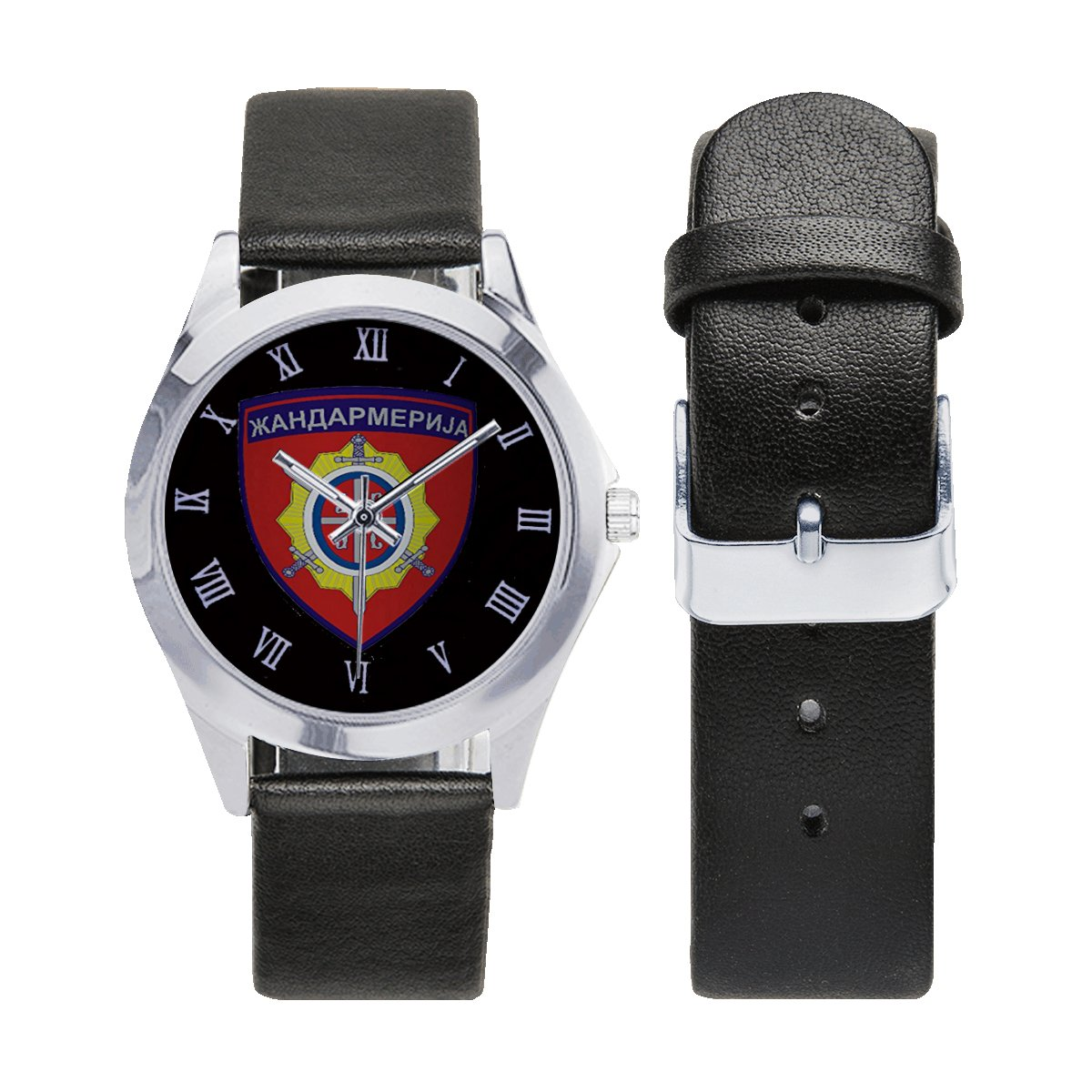 Gendarmerie Serbia Special Unit JSO Logo Leather Strap Watch Wrist Watches a perfect accessory
