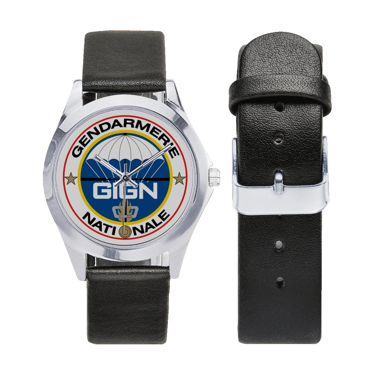 French GIGN (National Gendarmerie Intervention Group) Leather Strap Watch a perfect accessory