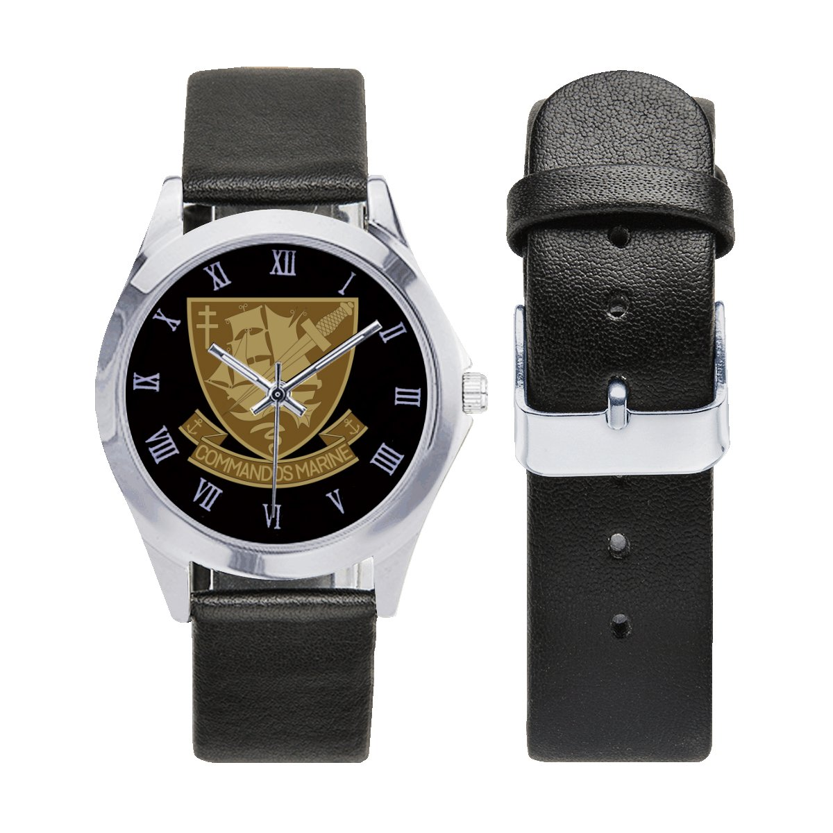 France Navy Bérets Verts (Green Baret) Commandos Marine Leather Strap Watch a perfect accessory