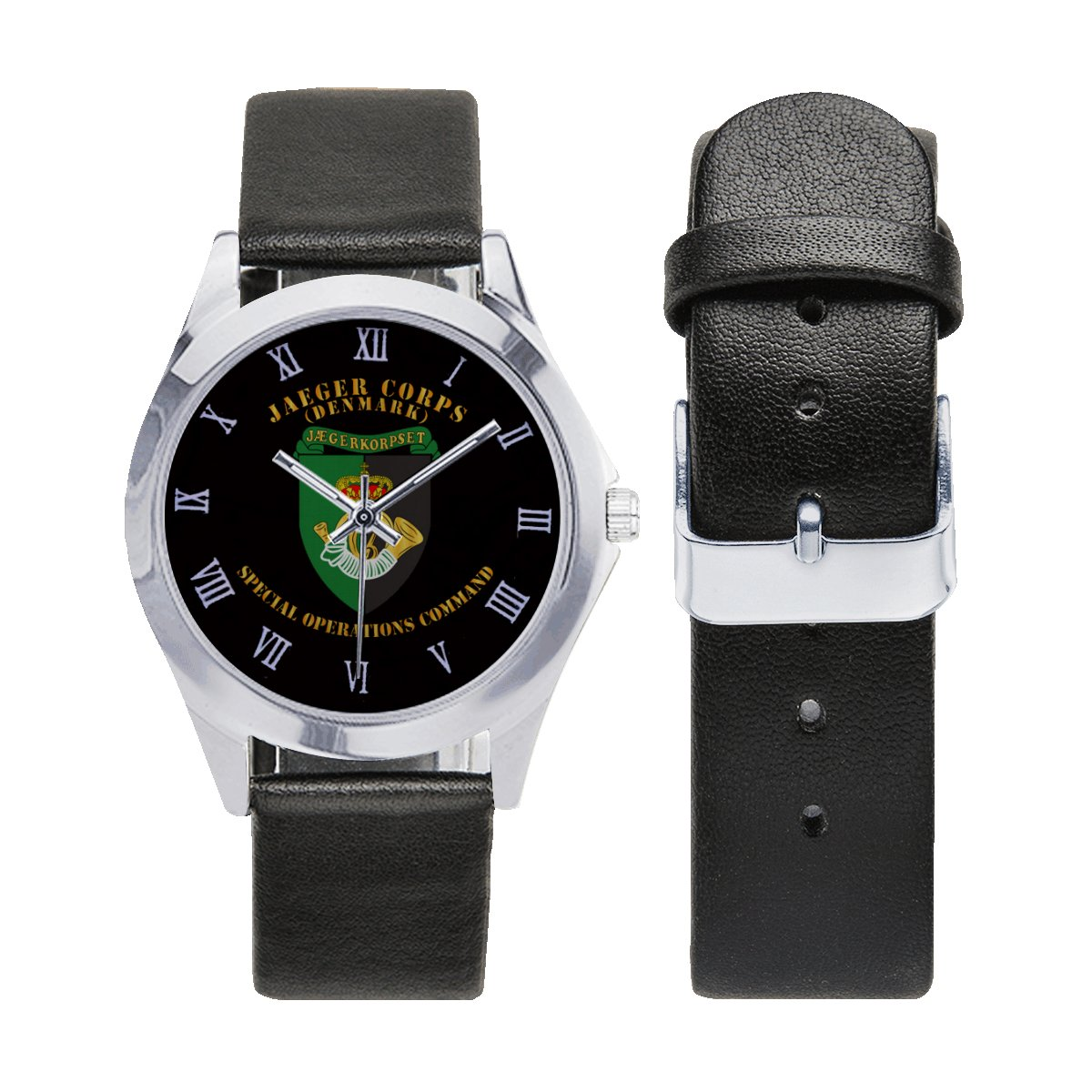 Danish Denmark - Jaeger Corps - Special Force Command Logo Leather Strap Watch a perfect accessory