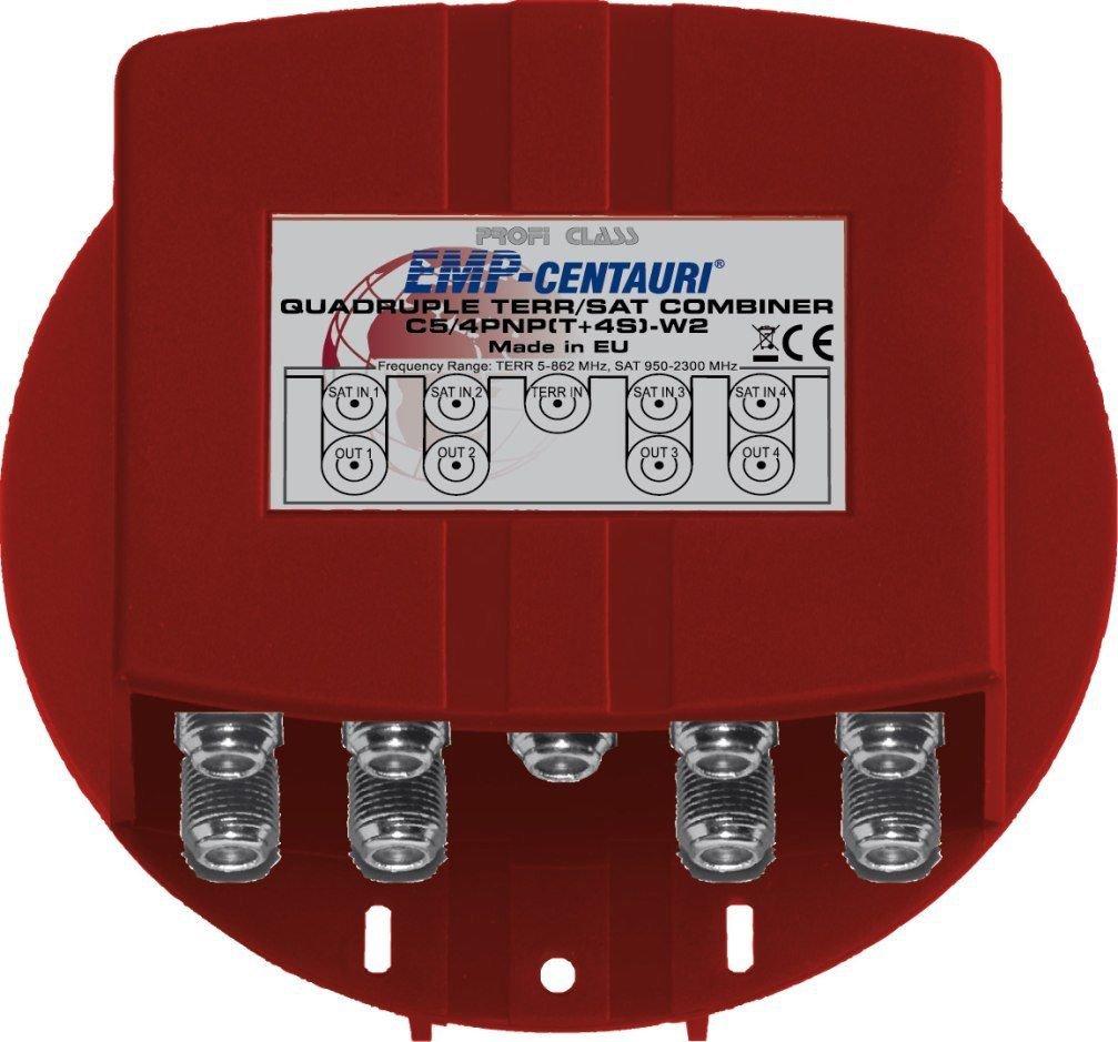 Quadruple SAT/TV Combiner C5/4PNP-W2, weatherproof, 4 yrs warranty