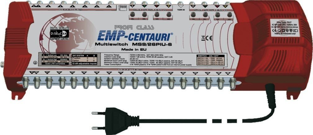 Satellite multiswitch MS9/26PIU-6 (9inputs,26outputs), Made in EU, 4yrs. WNTY