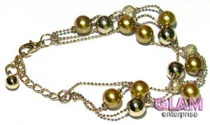 GOLD PEARL TEXTURED AND GOLD TONE BEADS BRACELET BC1
