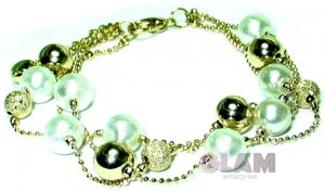 WHITE PEARL TEXTURED AND GOLD TONE BEADS BRACELET BC2