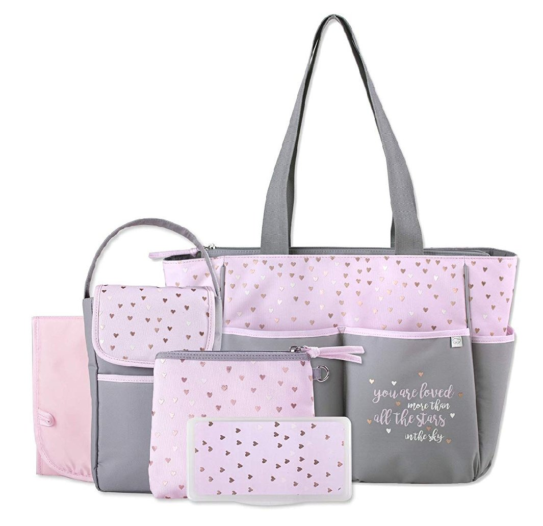 Diaper Bag Tote 5 Piece Set with Sun, Wipes Pocket, Dirty Diaper Pouch, Changing Pad