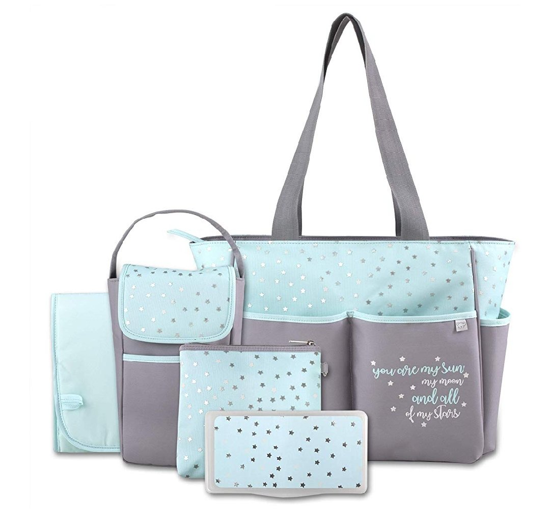Diaper Bag Tote 5 Piece Set with Sun, Moon, and Stars, Wipes Pocket