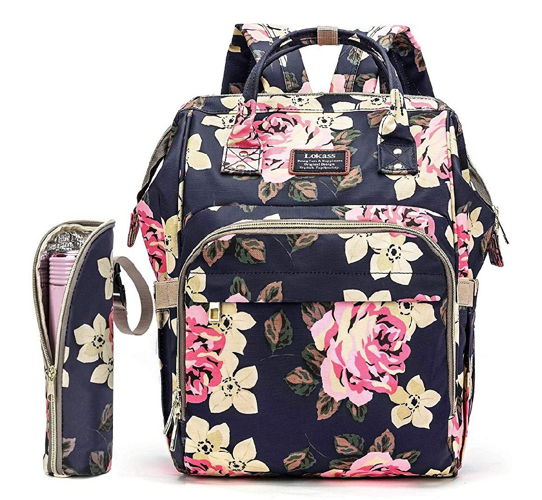 Diaper Bag Backpack Floral Baby Bag Water-Resistant Baby Nappy Bag with Insulated Water Bottle