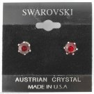Genuine Swarovski Crystals 1 Carat 6mm Stud Earrings January Red Birthstone