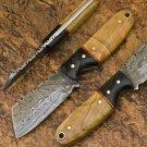 6″ Custom Hand Forged Damascus Steel Skinner Olive Wood Knife (BB-S1057)