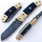 7.0″ Custom Hand Forged Damascus Steel Buffalo Horn Folding Knife (BB-F979)