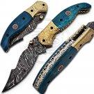 7.5″ Custom Hand Forged Damascus Steel Dyed Camel Bone Folding Knife (BB-F990)
