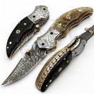 7.5″ Custom Hand Forged Damascus Steel Ram Horn Folding Knife (BB-F988)