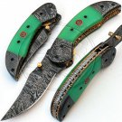 7.50″ Custom Hand Forged Damascus Steel Green Micarta Folding Knife (BB-F972)
