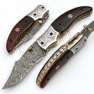7.50″ Custom Hand Forged Damascus Steel Rose Wood Folding Knife (BB-F987)