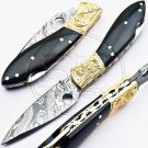 7″ Custom Hand Forged Damascus Steel Bull Horn Folding Knife (BB-F964)