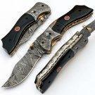 8.0″ Custom Hand Forged Damascus Steel Buffalo Horn Folding Knife (BB-F973)