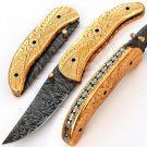 8.0″ Custom Hand Forged Damascus Steel Engraved Brass Handle Folding Knife (BB-F969)