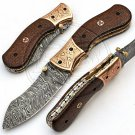 8.0″ Custom Hand Forged Damascus Steel Micarta Folding Knife (BB-F977)