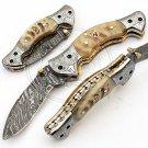 8.0″ Custom Hand Forged Damascus Steel Ram Horn Folding Knife (BB-F970)