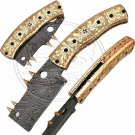 8.5″ Custom Hand Forged Damascus Steel Engraved Brass Handle Folding Knife (BB-F965)