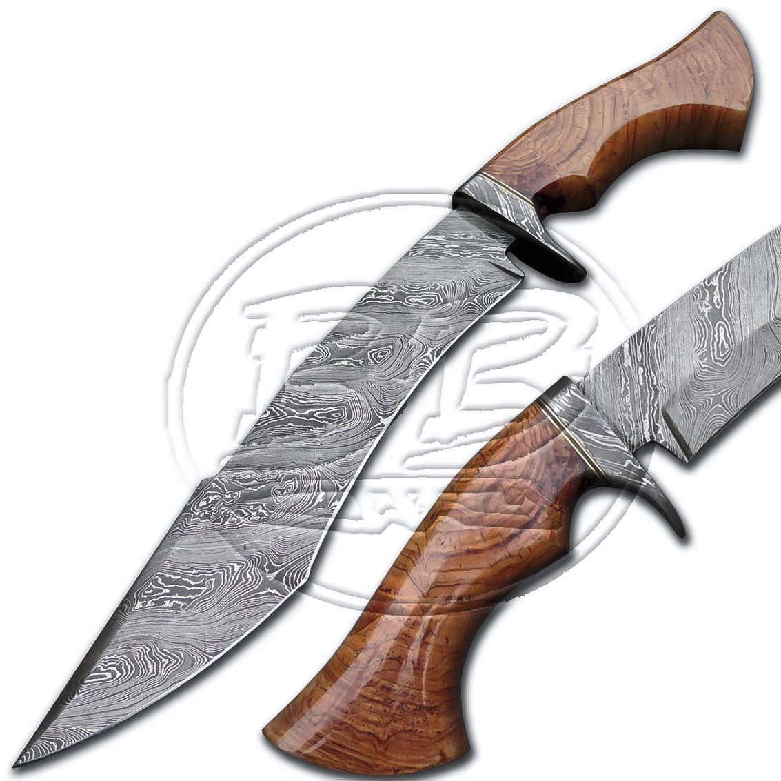 15� Custom Hand Forged Damascus Steel walnut Wood Hunting Knife (BB-H981)