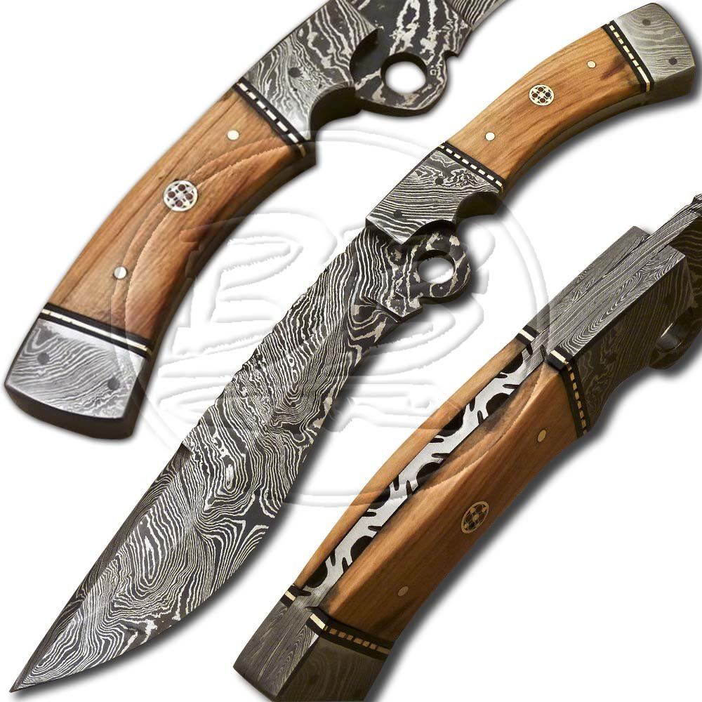12.5� Custom Hand Forged Damascus Steel Bowie Olive Wood Full Tang Knife (BB-BW982)