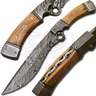 12.5″ Custom Hand Forged Damascus Steel Bowie Olive Wood Full Tang Knife (BB-BW982)