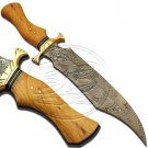 13.5″ Custom Hand Forged Damascus Steel Bowie Olive Wood Knife (BB-BW996)