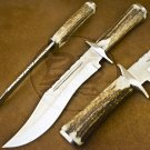 15″ Custom Hand Made D2 Tool Steel Stag Antler Bowie Knife (BB-S1069)
