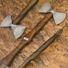 10.5″ Hand Forged Functional Damascus Steel Double Edged Head Axe-Tomahawk (BB-AX1071)
