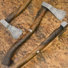12.25″ Hand Forged Quality Damascus Steel Rosewood Axe-Tomahawk-Hatchet (BB-AX1072)