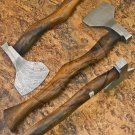11″ Hand Forged Quality Damascus Steel Rose Wood Axe-Tomahawk-Hatchet (BB-AX1080)