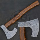 18″ Hand Forged Functional Damascus Steel Rosewood Axe-Hatchet (BB-AX1179)