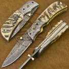 7.5″ Custom Hand Forged Damascus Steel Ram Horn Folding Knife (BB-F1188)