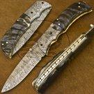 9.0″ Custom Hand Forged Damascus Steel Ram Horn Folding Knife (BB-F1190)