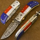 8.5″ Custom Hand Forged Damascus Steel American Flag Folding Knife (BB-F1191)