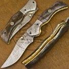 9.0″ Custom Hand Forged Damascus Steel Dyed Camel Bone Folding Knife (BB-F1197)